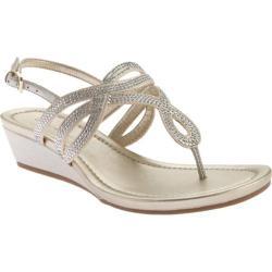 Women's Bandolino Brisa Wedge Sandal Gold/Gold Fabric