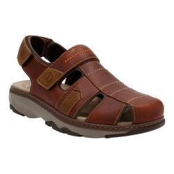 Men's Clarks Raffe Bay Closed Toe Sandal Brown Leather