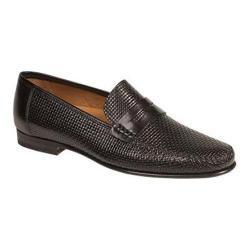 Men's Mezlan Elcano Penny Loafer Black Laser Embossed Textured Calfskin