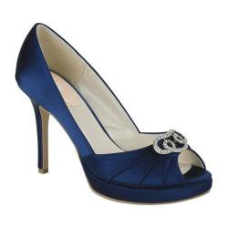 Women's Pink Paradox London Lavish Peep-Toe Pump Navy Satin