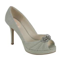 Women's Pink Paradox London Lavish Peep-Toe Pump Platinum Glitter