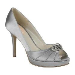 Women's Pink Paradox London Lavish Peep-Toe Pump Silver Satin