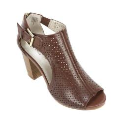 Women's White Mountain Dreamy Ankle Strap Sandal Brown Smooth Synthetic