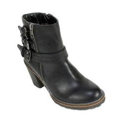 Women's White Mountain Jojo Ankle Bootie Black Smooth Synthetic