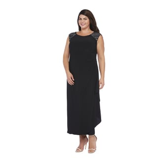 R&M Richards Plus Size Side Drape Gown