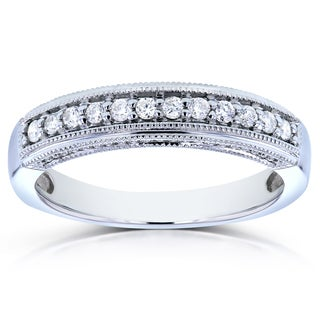 Annello 14k White Gold 1/6ct TDW Curved Diamond Ring (H-I, I1-I2)