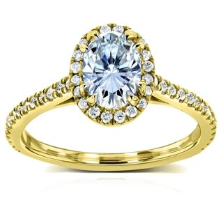 Annello 14k Yellow Gold Oval Moissanite and 1/4ct TDW Diamond Halo Engagement Ring (G-H, I1-I2)