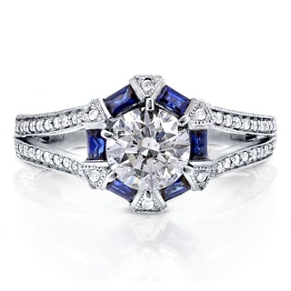 Annello 14k White Gold Sapphire and 1 1/4ct TDW Diamond Art Deco Engagement Ring (H-I, I1-I2)