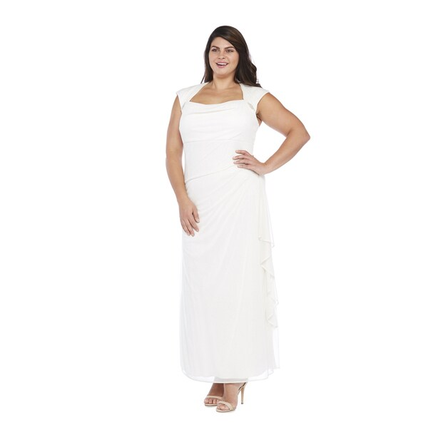 R&M Richards Plus Size Glitter Matte Long Dress