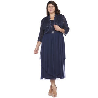 R&M Richards Plus Size Lace Chiffon Jacket Dress