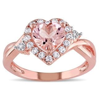 Miadora Rose Plated Sterling Silver Morganite, Created White Sapphire and Diamond Accent Heart Infinity Ring