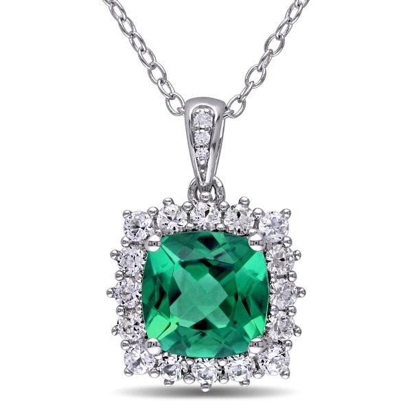 Miadora sterling silver created emerald created white sapphire and diamond accent halo necklace befa482a c933 409d 8e96 a94939d0e212 600