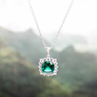 Miadora Sterling Silver Created Emerald, Created White Sapphire and Diamond Accent Halo Necklace