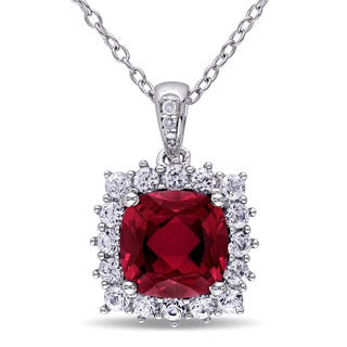 Miadora Sterling Silver Created Ruby, Created White Sapphire and Diamond Accent Halo Necklace