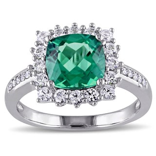 Miadora Sterling Silver Created Emerald, Created White Sapphire and Diamond Accent Halo Cocktail Ring