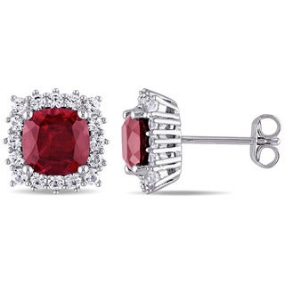 Miadora Sterling Silver Created Ruby and Created White Sapphire Halo Stud Earrings
