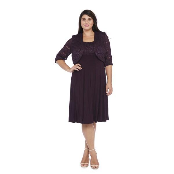R&M Richards Plus Size Lace Jacket Dress