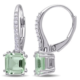 Miadora Sterling Silver Green Amethyst and 1/10ct TDW Diamond Dangle Earrings (G-H, I2-I3)