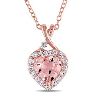 Miadora Rose Plated Sterling Silver Morganite, Created White Sapphire and Diamond Accent Heart Halo Necklace