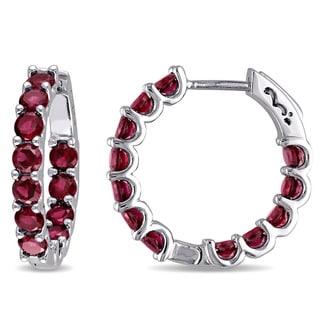 Miadora Sterling Silver Created Ruby Hoop Earrings