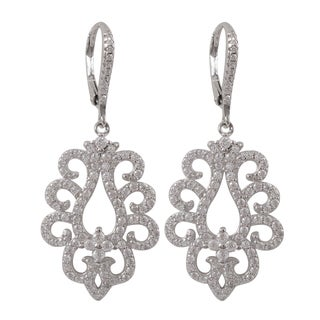 Sterling Silver Pave Cubic Zirconia Baroque Dangle Earrings