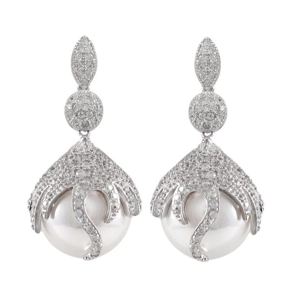 Sterling Silver Pave Cubic Zirconia Freshwater Pearl Dangle Earrings