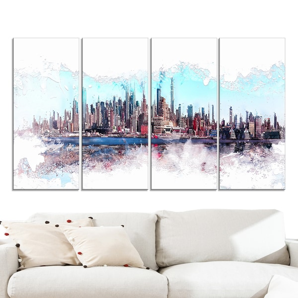 Design Art 'In the Bay Cityscape' Large Urban Canvas Art Print