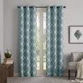 Madison Park Essentials Almaden Printed Fret Grommet Top Curtain Panel Pair--4 Color Options