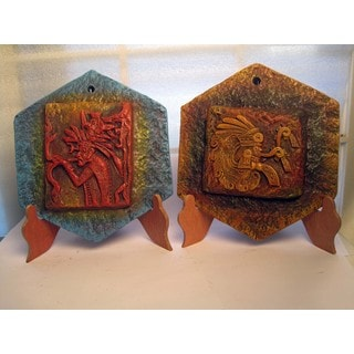Ceramic Maya Glyphs on Wood Stands (Mexico)
