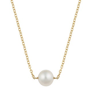 Fremada 14k Yellow Gold Delicate Freshwater Pearl Necklace (16 inches)