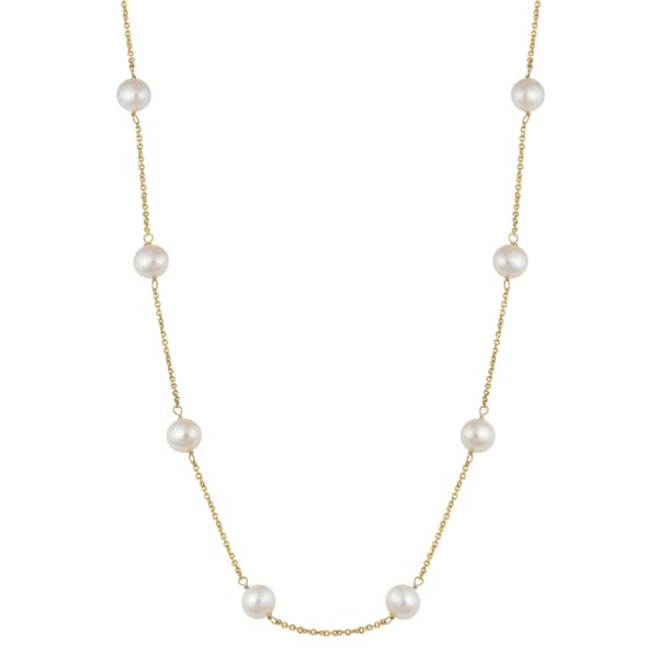 Fremada 14k Yellow Gold Freshwater Pearl Station Necklace (17 inches)