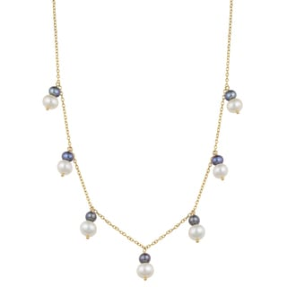 Fremada 14k Yellow Gold Black and White Freshwater Pearl Cleo Necklace (16 inches)