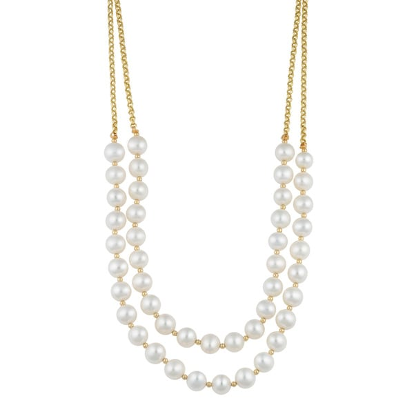 Fremada 14k Yellow Gold Double Strand Freshwater Pearl Necklace (16 inches)
