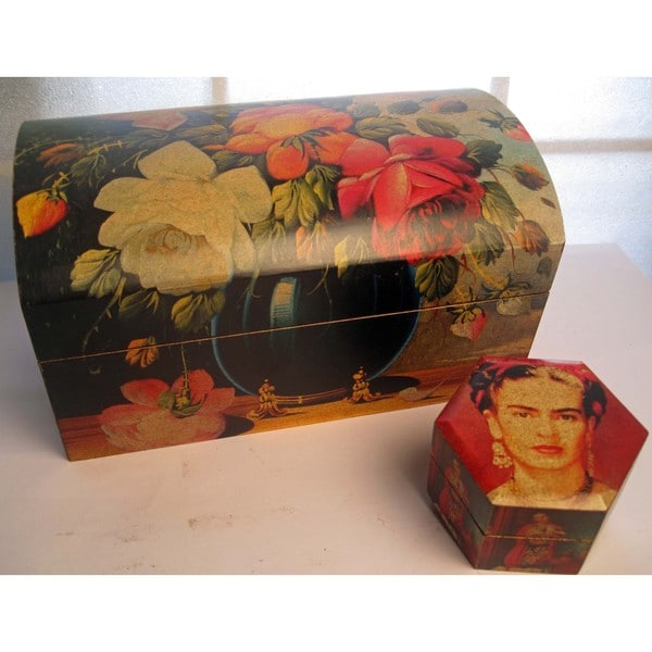 Painted Flower Wood Chest and Frida Kahlo Jewelry Box (Mexico)