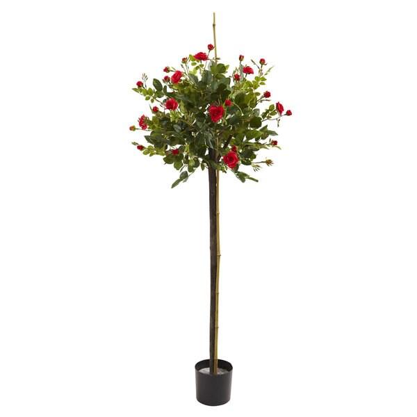 3-foot Rose Topiary Silk Tree