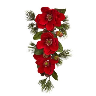 26-inch Red Magnolia & Pine Tear Drop