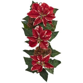 25-inch Poinsettia, Pine Cone & Burlap Teardrop