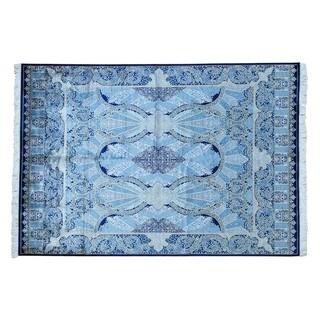Hand-knotted Sky Blue Silken Esfahan 400 KPSI Oriental Area Rug (5'7 x 8'1)