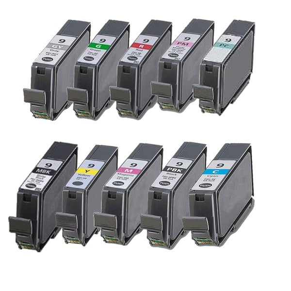 10PK PGI-9 MBK PBK C M Y PC PM R G GY Compatible Inkjet Cartridge For Canon PIXMA Pro9500 (Pack of 10)