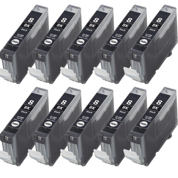 10PK CLI-8Bk Black Compatible Inkjet Cartridge For Canon PIXMA IP4200 5200 6600D 6700D MP500 MP800 (Pack of 10)