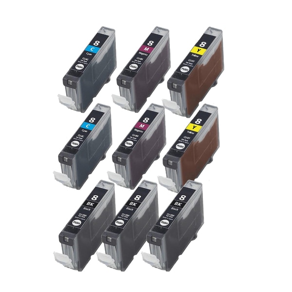 9PK CLI-8 3 BK + 2 X C M Y Compatible Inkjet Cartridge For Canon PIXMA IP4200 5200 6600D 6700D MP500 MP800 (Pack of 9)