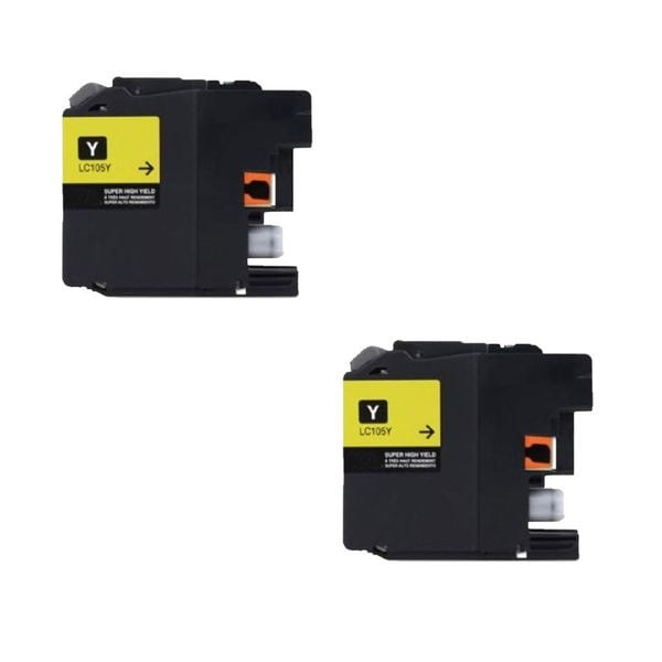 2 PK Compatible LC105 Y XL Inkjet Cartridge For Brother MFCAN-J4410 J4110 (Pack of 2)