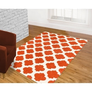 LYKE Home Hand-carved Orange Moroccon Trellis Area Rug (8' x 10')