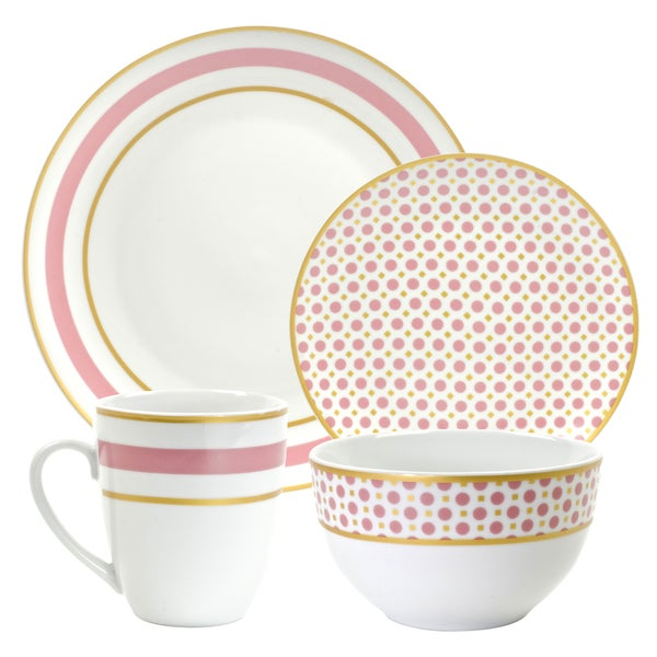 10 Strawberry Street Coral 16-piece Dinnerware Set