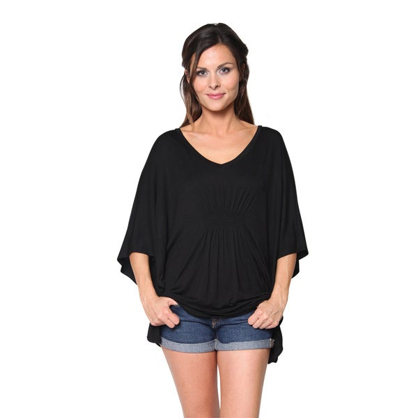 FTL Women's Long Loose Fit Oversized Smocked V-neck Tunic