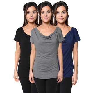 Pack of 3: Free to Live Women's Short Sleeve Cowl Neck Blouse Tunic Tops