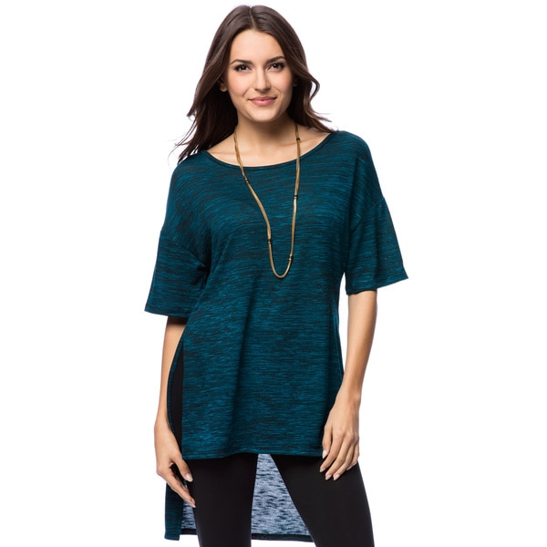 Free to Live Women's Space Dye Hi-low Sweater Knit Top 16320394