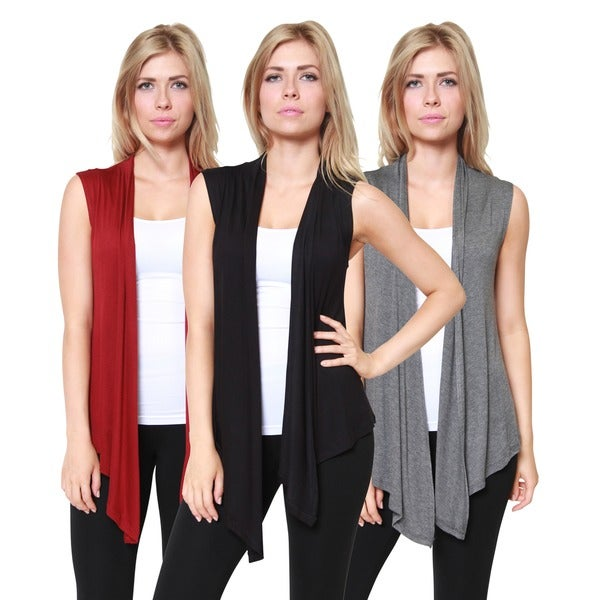 Free to Live Women's Open-Front Sleeveless Cardigans (Pack of 3) 16320415