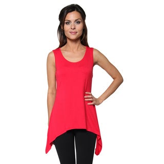 Free to Live Women's Long Flowy Shark Bite Asymmetrical Hem Tank Top Tunic