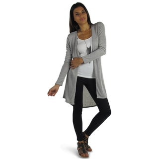 Free to Live Women's Long High Low Knit Hacci Fitted Cardigan